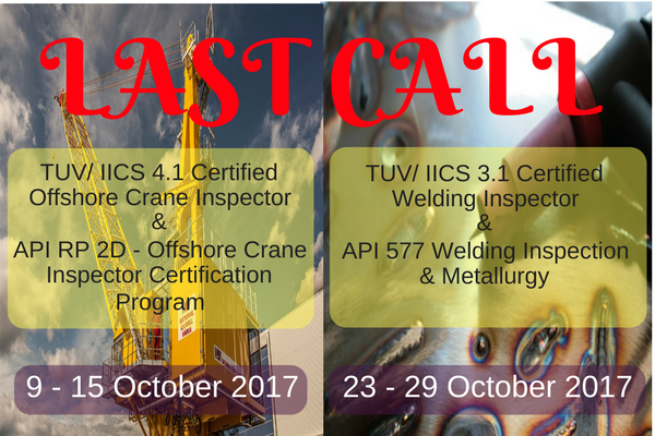 LAST CALL! To be CERTIFIED AS INSPECTOR IN OFFSHORE CRANE/ CWI in 2017